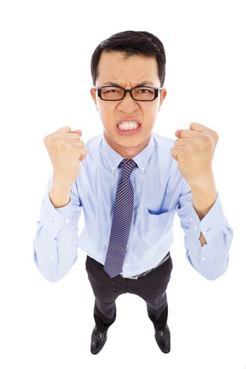 angry businessman make a fist  to yell