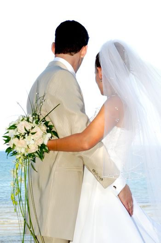 Happy wedding couple smiling