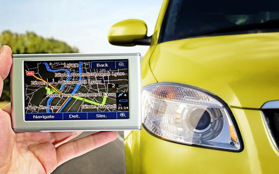 Gps in a man hand. Find your way !