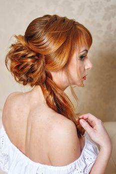 Bride with a high hairdo