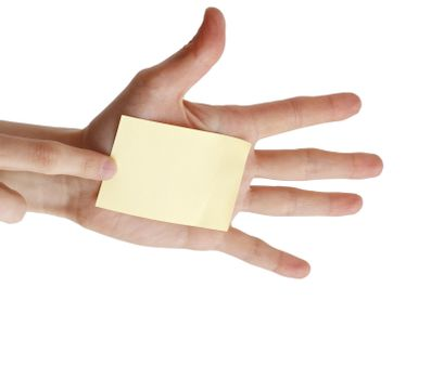 One post it in a woman hand