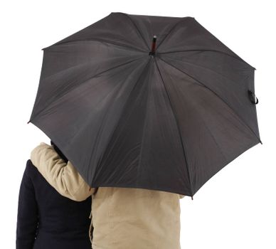 Couple with umbrella, isolated on white background