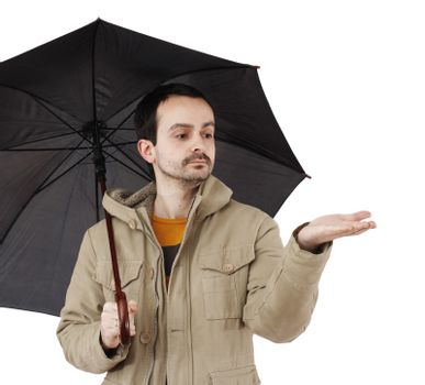 Man with big umbrella, on white