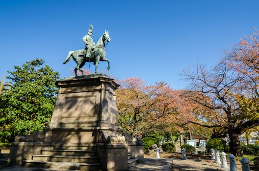 Statue of warrior on horse in Ueno district