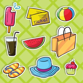 illustration of various objects green checkered background