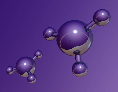 abstract molecule model on purple background - 3d illustration