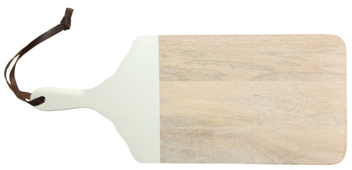 Natural Light Wood Cutting Board with Leather Strap