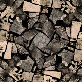 Dark cracked stone texture in gray and pale brown tones