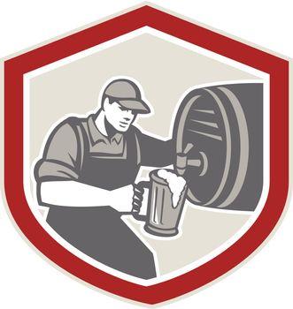 Barman Pouring Beer Ale Barrel Retro