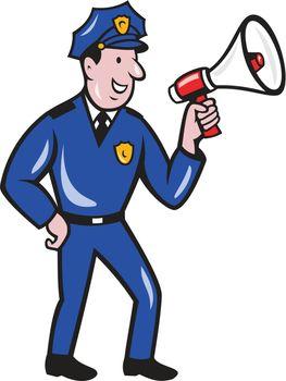 Policeman Shouting Bullhorn Isolated Cartoon