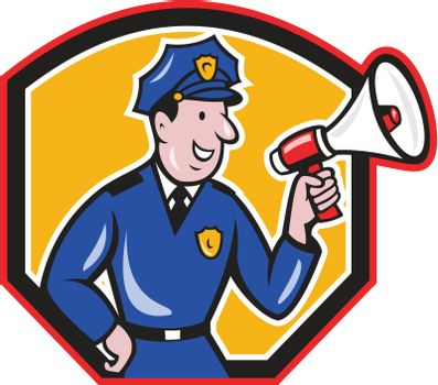 Policeman Shouting Bullhorn Shield Cartoon