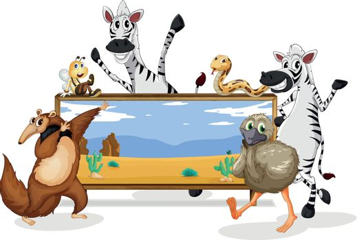 illustration of various animals and board on white