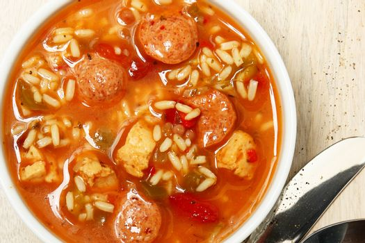 Bowl of Cajun Spicy Chicken and Sausage Gumbo Soup