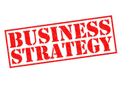 BUSINESS STRATEGY red Rubber Stamp over a white background.