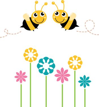 Lovely Bees flying around flowers. Vector cartoon Illustration