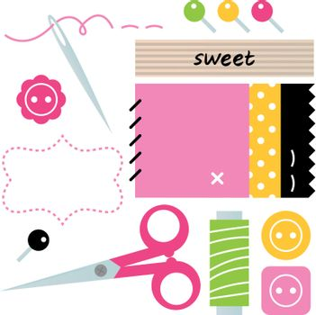 Sewing set with scissors, buttons, pins and spool of thread. Vector Illustration
