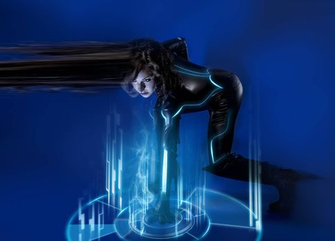 Sci-fi woman in blue neon lights, travel time