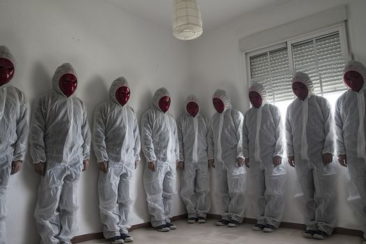 Clones, Nightmare concept, man with white dress and red mask