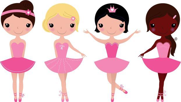 Happy multicultural ballerinas. Vector cartoon Illustration