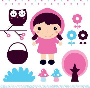 Little Red Riding Hood Fairytale design set. Vector Illustration