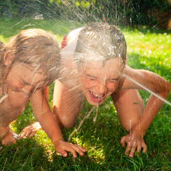 Children playing in a summer garden