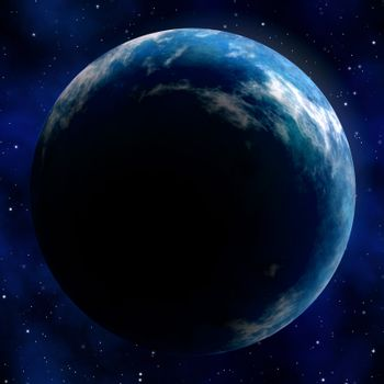 Illustration of the great blue planet earth seen in outer space with stars in the background.