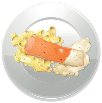 illustration of a food and a dish on a white background