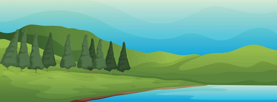 illustration of a green landscape and lake