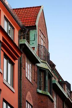 Brick building with balcony