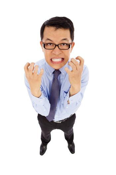 businessman make a nervous facial expression