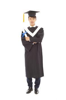 Full length of happy graduating student
