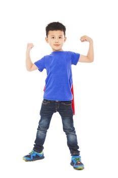 super kid hero raise arms