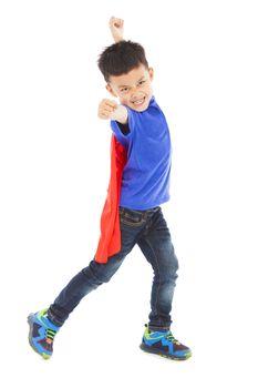 happy kid make a fist to attack