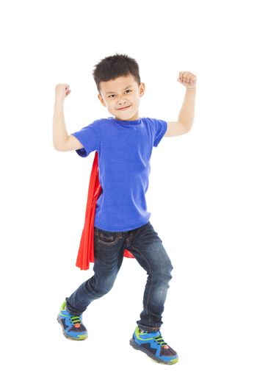 smiling super kid hero raise arms