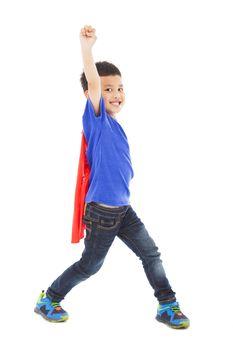 happy superhero kid hero raise hand