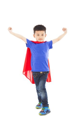 superhero kid open arms and standing