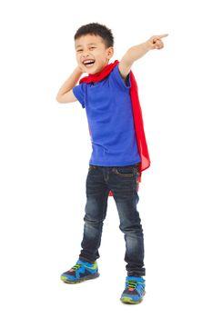 happy superhero kid pointing somewhere