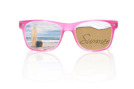 Summer holiday. Summer written in sand, tropical island with surfboard and volleyball ball in pink sunglasses isolated on white background. Conceptual summer vacation.