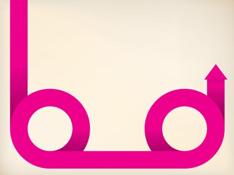 Curving pink arrow shaped ribbon on pale background