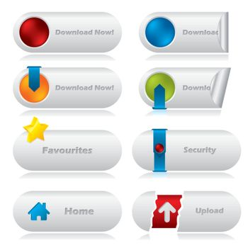 Download web buttons with various elements
