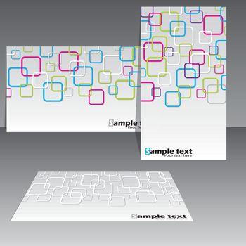Cool rounded rectangular design business card set