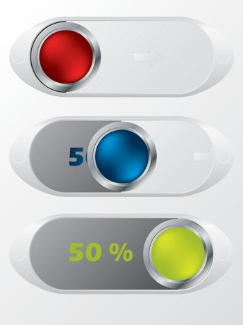 Slideable shiny buttons with hidden discounts