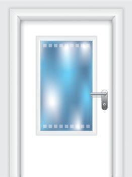 Door with dotted window
