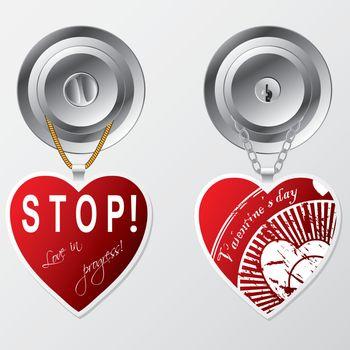 Hearts hanging on door knob