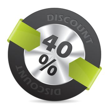 40% discount badge with green arrow ribbon