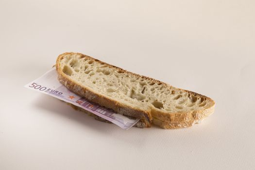 Sandwich with 500 euros banknote