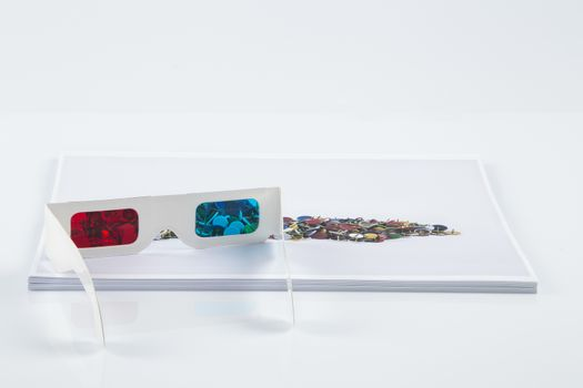 3D Print: white 3D anaglyphic Red Blue glasses and paper printed pins