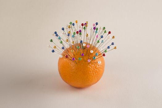 Mandarin and pins