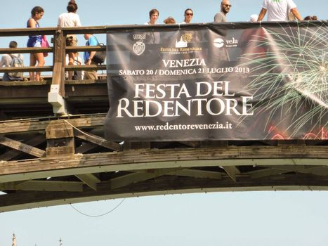 Venice, Italy ��� July, 20: the Festival of the Redeemer in Venice on July 20, 2013. From 1577, the Venetians��� favourite event is a thanksgiving to Jesus Christ for the end of the Plague. The fireworks show is considered the best in Europe