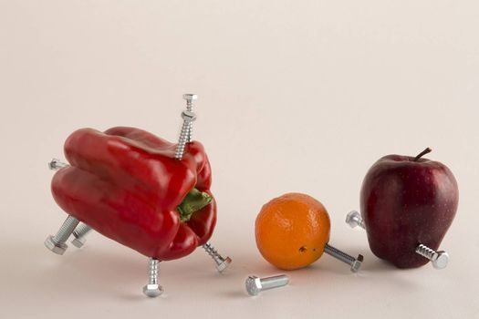 Apple, Pepper and mandarin with bolts